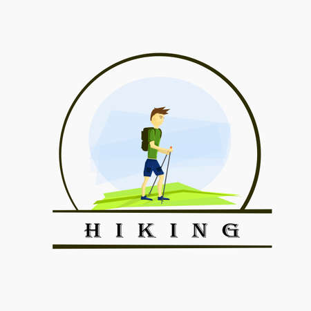 hombre deportista: de excursión con un hombre atleta con bastones en el campo.