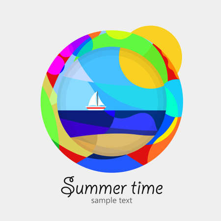 circumference: For summer multicolor. Circumference of colors, maritime landscape inside.