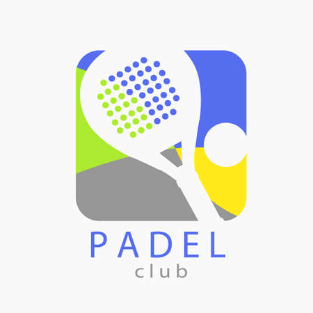 silhouetted: Logo paddle with four colors (blue, green, gray and yellow) with silhouetted paddle racket and ball.