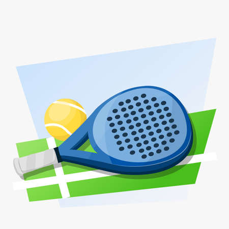 green land: Paddle tennis racket and ball on green land and blue background.