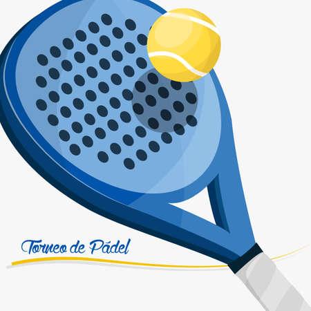tennis racket: Cartel remar torneo. Raqueta de pádel con el texto en español