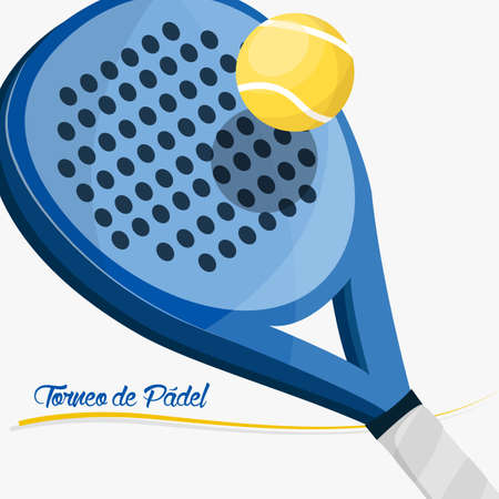 Poster to paddle tournament. Paddle racket with text in Spanish