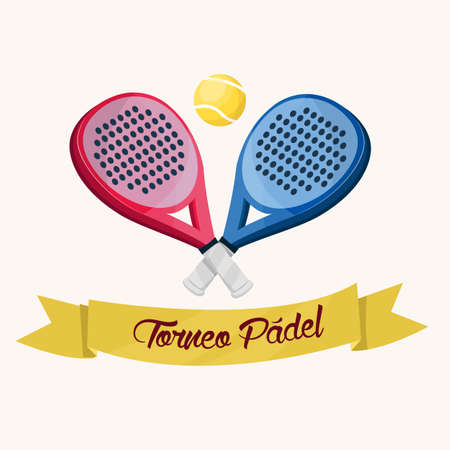 Two paddle tennis rackets. A blue and a pink. Banner with text in Spanish.