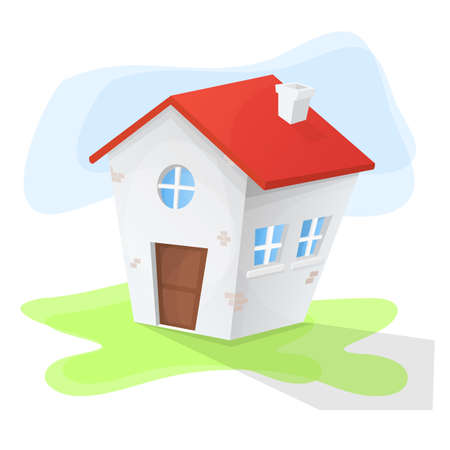 Cartoon house with three windows and red roof. Green land and blue background Stock Illustratie