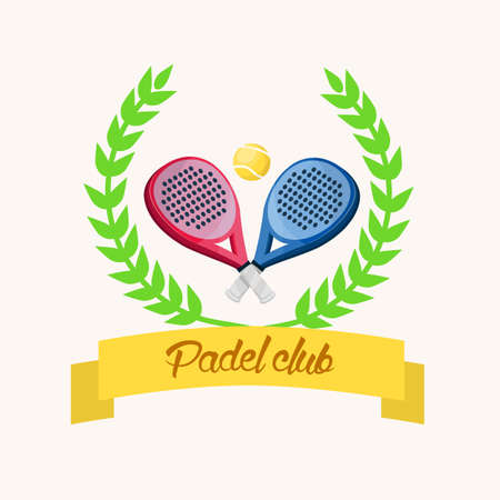 Two paddle tennis rackets. A blue and a pink. Banner with text in Spanish. padel club Stock Illustratie