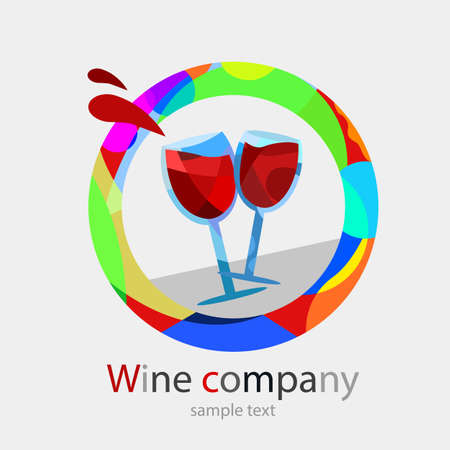 toasting: Logo of colors to wine business. Two wine glasses toasting. Modern colors