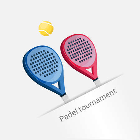 Two paddle tennis rackets in pink and blue on a white background.