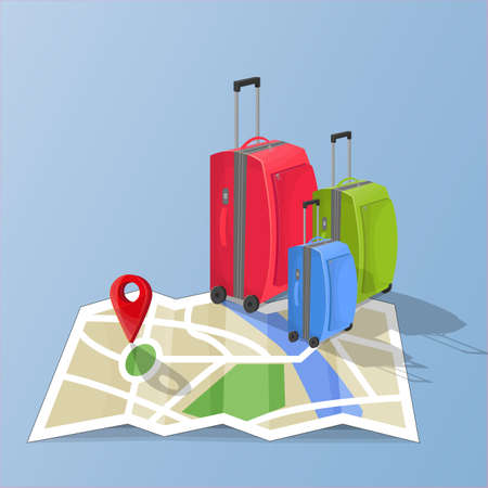 Suitcases on map destination. Blue background. Vector illustration.