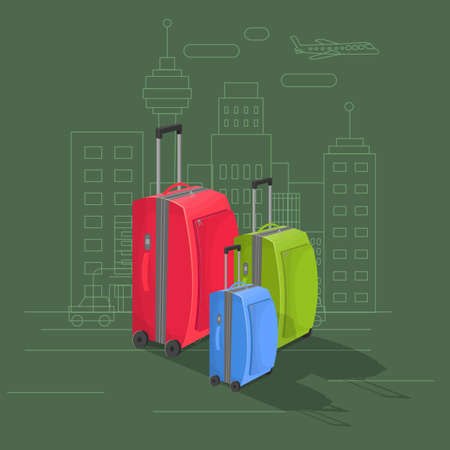 organized: Suitcases on green background with drawing of a city. Vector illustration. Well organized layers Illustration