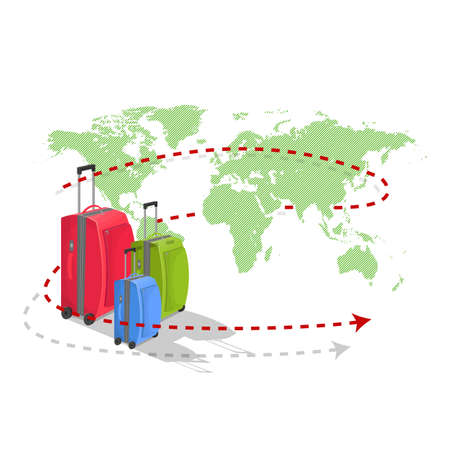 simulating: Colored suitcases on world map. Dashed line, simulating travel route. vector illustration Illustration