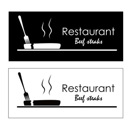 Logo shows a fork pricking a ribeye steak. It is displayed in two colors.
