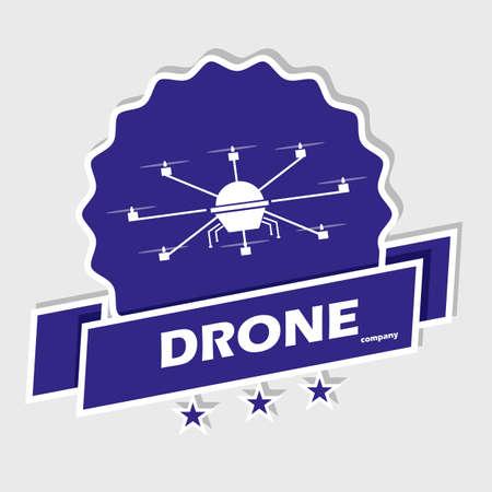 drones: Logo drone in flight. Club drones. Image in vector format