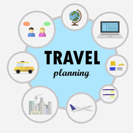 travel destinations: Image with travel plans. Since talking to the trip to the city selected it becomes. vector image Illustration