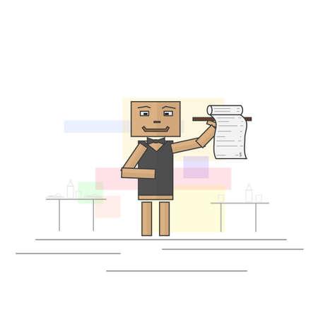 facture restaurant: Serveur porte le projet de loi pour la table du restaurant. Format vectoriel image. Illustration
