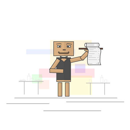 gatherings: Waiter bringing the bill to the restaurant table. Image vector format. Illustration
