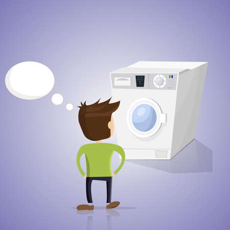 know how: Man does not know how to use the washing machine. Blue background. Image in vector format