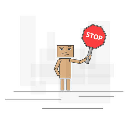 insecure: People with a stop sign in his hand and face insecure. Vector image Illustration