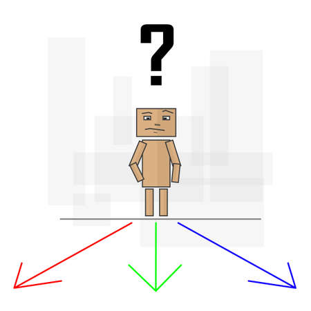opportunity concept: Character with a question mark on his head and wondering which way to take the three. Image in vector format.