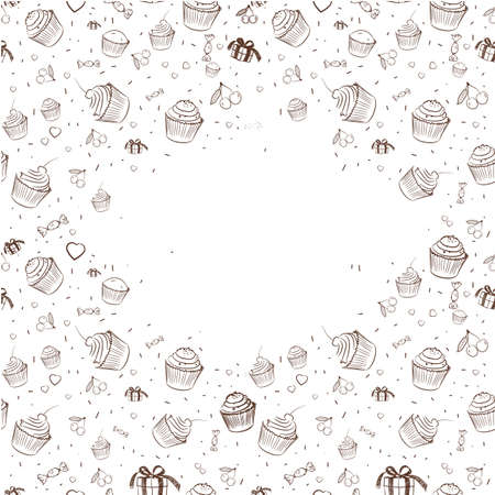 other space: Vintage background with cupcakes and other sweets. White space to fill with text.Image in vector format