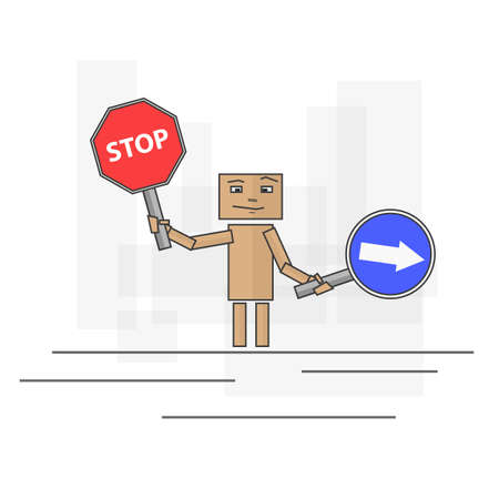 the way forward: Cardboard Man with two  signs. One gives way forward and the other shows a stop. Illustration