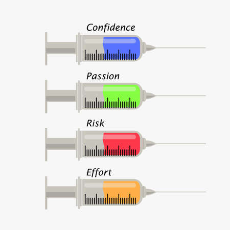 substances: Four syringes with key substances for success.