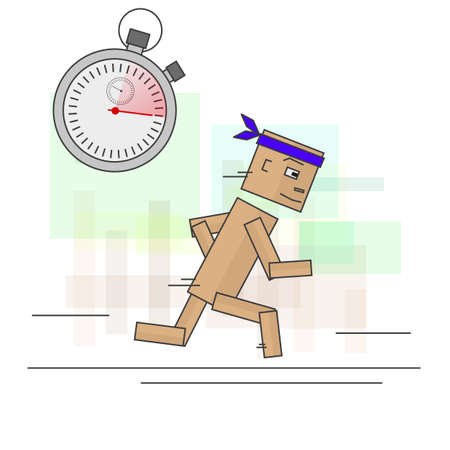 calculating: Runner calculating their time in training. Image in vector format