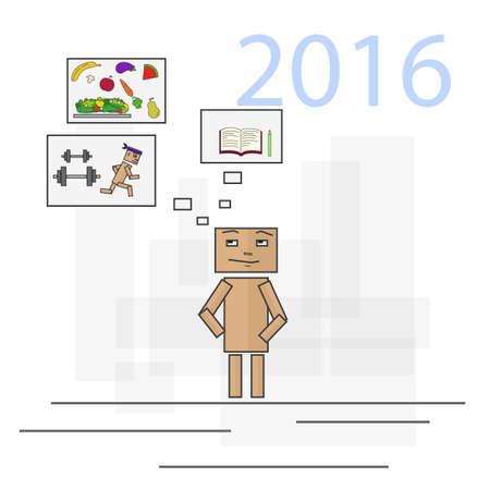 person thinking: Persona a pensar en las metas de 2016. Piense en los deportes, comer bien y estudiar m�s. Imagen en formato vectorial