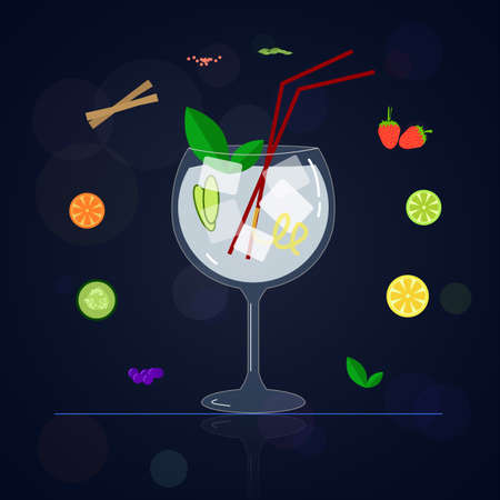 botanics: Cup cocktail made with gin and different types of fruits and botanicals. Image in vector format