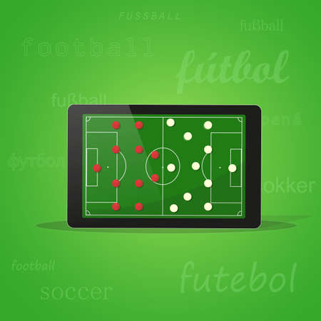 soccer field: Tablet on green background with the word football in different languages. Laptop screen shows a football field. Image in vector format Illustration