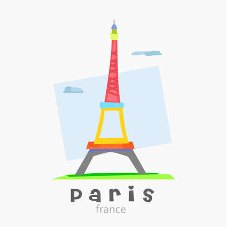 varied: Logo of the Eiffel tower abstract design with bright colors and varied Illustration