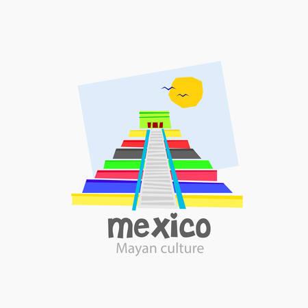 cultura maya: Logo de la pirámide típica de la cultura maya. Es en lugares como México. Creado en colores luminosos y modernos. vector