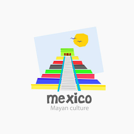 mexico culture: Logo of the typical pyramid of the Mayan culture. It is in places like Mexico. Created in bright, modern colors. vector