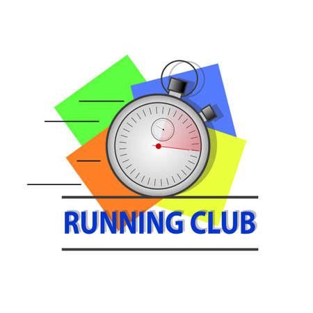 cronógrafo: correr cronómetro. Fondo de cuatro colores. vector