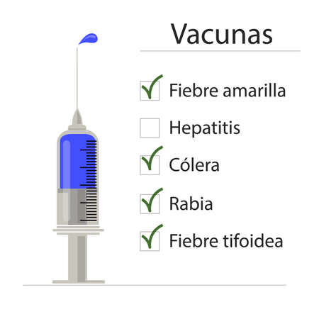 syringe: Syringe with blue vaccine. List of already injected vaccines. Image in vector format