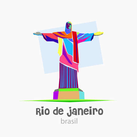 corcovado: Christ Redeemer representing Brazil. Created with abstract style with many bright colors. Image in vector format