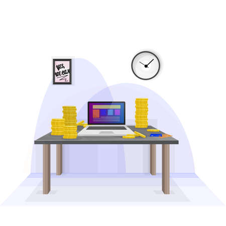 earn money: Earn money from home with your own personal computer. Illustration