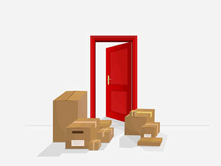 deliver: Shopping delivered at home. Packages of products supplied address. Illustration