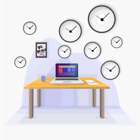 controlling: Stress in the office. Stress in the office. Many watches in the office controlling the time.