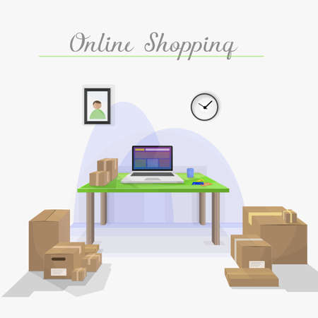 delivered: Internet shopping. Packages delivered. Room house with all packets received.