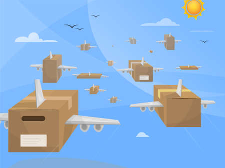 Air parcel deliveries. Packages with wings flying over the sky toward their destinations. Online shopping.
