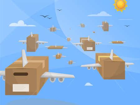Luchtpakket leveringen. Pakketten met vleugels vliegen over de hemel naar hun bestemmingen. Online winkelen.
