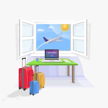 reservations: Laptop on table desk to make travel reservations. Bags packed. Plane in the window. Illustration