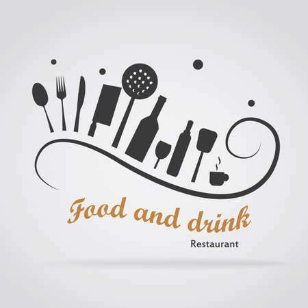 Logo food with utensils on a curved line. It represents creative cuisine. Logo