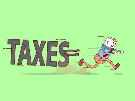Zakenman lopen. Ontsnappen uit de maandelijkse belastingen. Groene achtergrond. Afbeelding in vector-formaat. Vector Illustratie