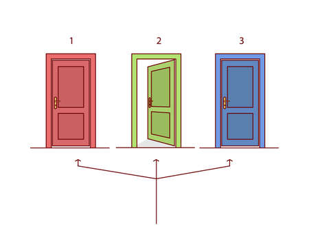 choosing: Three doors in different colors. Green door open. Arrows toward the gates to select one.
