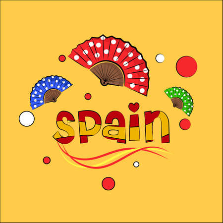 the fans: Text Spain with dela Spanish flag colors and with fans around.