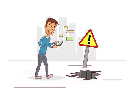 男は気を取られて携帯電話で話していると、注意を払っていません。