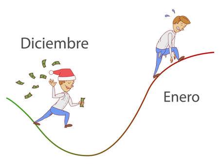 """helling januari. Tekst """"December"""" en """"januari"""" in de Spaanse taal."""