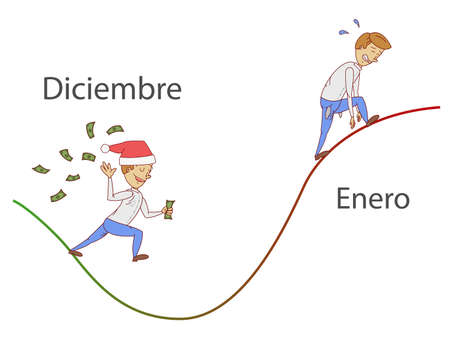 January slope. Text December and January in spanish language.