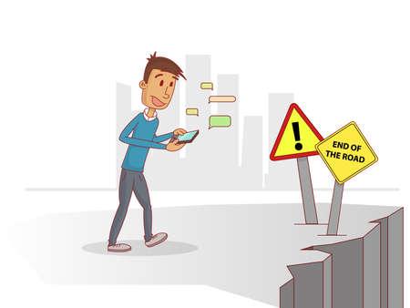 """Man praten over """"wat app"""" met mobiele afgeleid en niet op te letten. vector Vector Illustratie"""